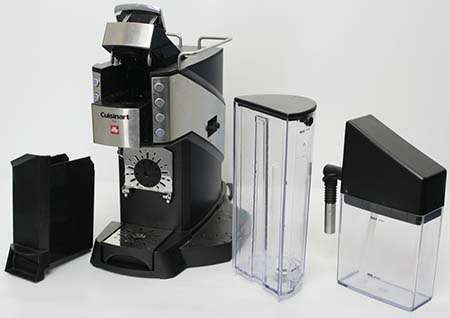 An image of the dregs box, empty drip tray and auto-frother dispenser of Cuisinart Buona Tazza EM 600