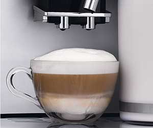 An image of a cup of cappuccino of Delonghi Perfecta Super Automatic Espresso Machine
