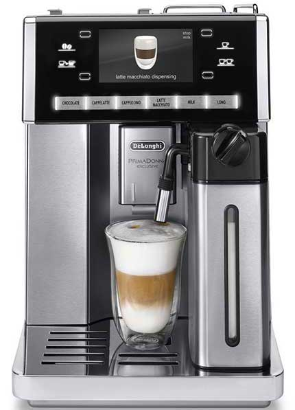 Front view of the Delonghi Prima Donna Exclusive ESAM 6900