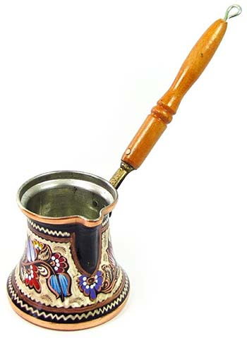 An image of Ibrik, a brass pot used to make Turkish coffee