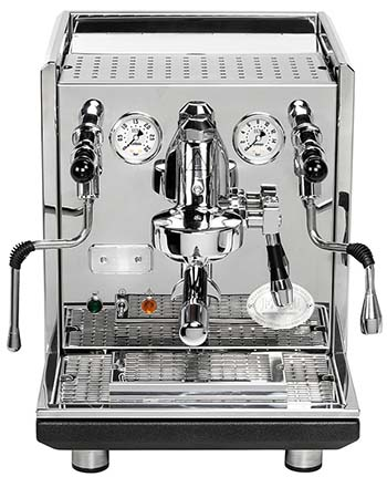 An image of a prosumer espresso machine, which is suitable for home use as well as in a busy office or a small coffee shop