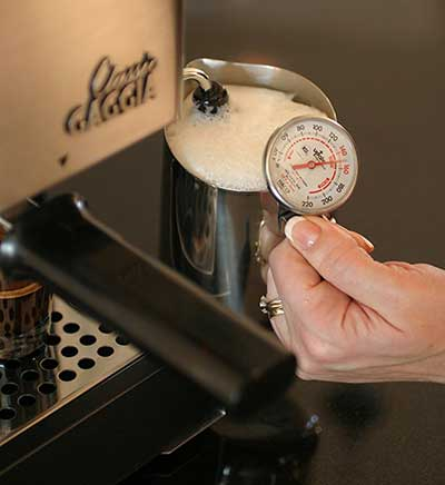 An image of Gaggia Classic's milk frothing container and Pannarillo wand