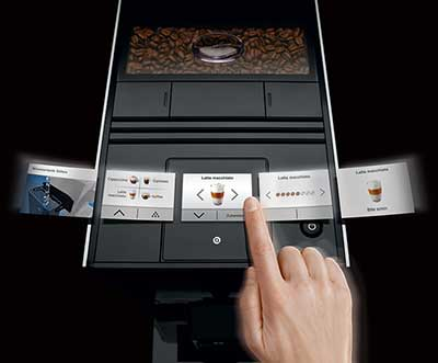An image of Jura A9's TFT touch screen control system