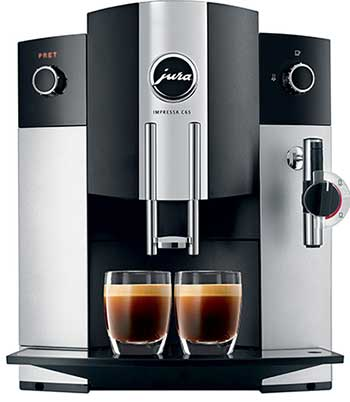Front view image of Jura C65 showing its coffee spouts and milk frother
