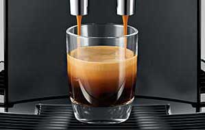An Image of espresso shot from the Jura E8 super automatic espresso machine