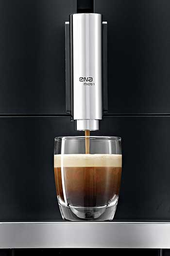 An image of ENA Micro 1 with a cup of espresso shot