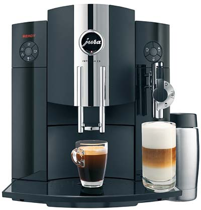 An image of a black Jura C9 One Touch Espresso Machine with 14-ounce thermal milk container