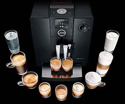 An Image of Specialty Coffee Drinks Produced by the Jura Capresso Impressa F8