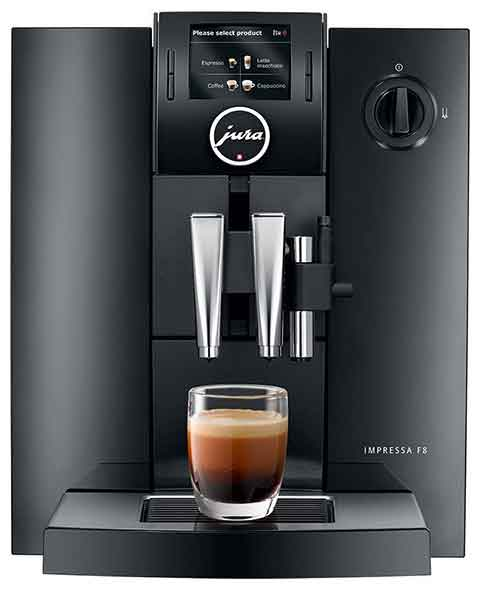 An image of the Jura Impressa F8 TFT, our best choice for super-automatic coffee machine