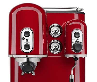 An image of KitchenAid Pro Line's portafilter, brew button and frothing wand