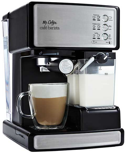 An image of Mr Coffee ECMP1000, a capable semi-automatic espresso machine