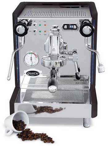 An image of Quickmill Vetrano's fully-articulated steam wand and coffee beans