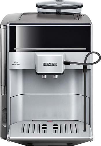 Front View of the Siemens EQ.6, our best choice for a well-rounded fully automatic espresso machine