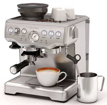 An Image of Breville BES870XL Milk Frothing and Espresso Cup for Best Espresso Machine Under 600 Dollars