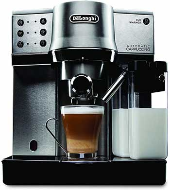 An Image of Delonghi EC860 Milk Frothing of the Best Fully Automatic Espresso Machine Under $500