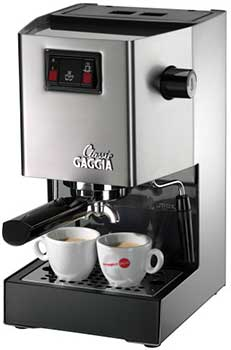 Gaggia 14101 Classic Espresso Machine with two cups of coffee under the spigot
