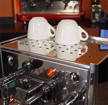 An image of the cup warming tray of the Bezzera BZ10 espresso machine