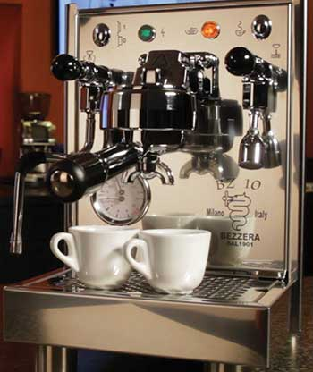 An image of Bezzera BZ10 with 2 cups of espresso