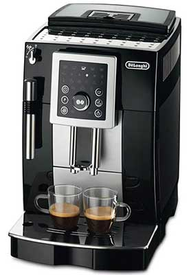 An image of the removable brew unit and control buttons of DeLonghi ECAM23210SB