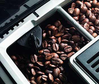 An image of Delonghi ECAM23210SB's stainless-steel, conical burr grinder