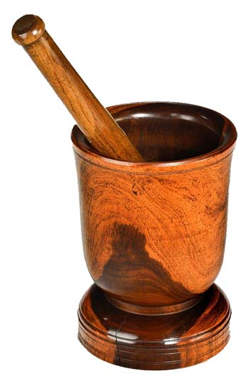 An image of a mortar and pestle, the easiest and most straightforward way to grind coffee beans
