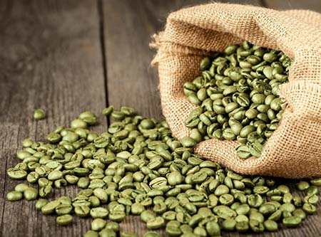 An image of a sack of green coffee beans
