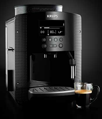 An image of Krups EA81 Pisa with a cup of espresso