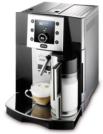 An image of the DeLonghi ESAM5500.B, our second pick of the best super automatic espresso machine under $1000
