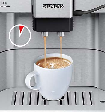 An image of Siemens EQ.6 with a cup of espresso