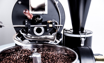 A top level view of the ARC 800g roaster in action roasting beans