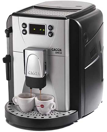 An image of Gaggia Unica with 2 cups of espresso