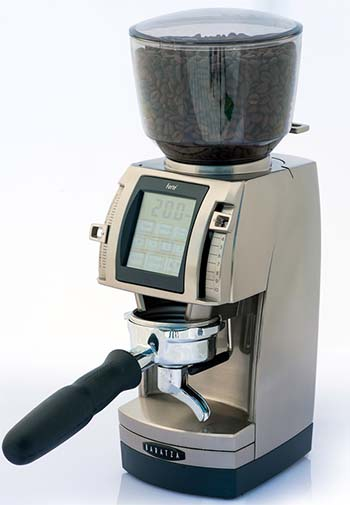 An image of Baratza Forte AP grinder with portafilter attached