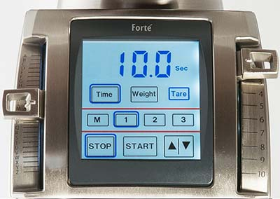 An image of of the touchscreen LCD of the Baratza Forte AP and BG Grinder