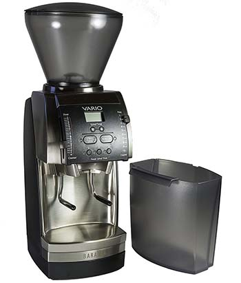 An image of the Baratza Vario with its optional hopper extension